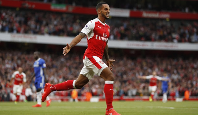 "Britain Football Soccer - Arsenal v Chelsea - Premier League - Emirates Stadium - 24/9/16 Arsenal's Theo Walcott celebrates scoring their second goal  Action Images via Reuters / John Sibley Livepic EDITORIAL USE ONLY. No use with unauthorized audio, video, data, fixture lists, club/league logos or ""live"" services. Online in-match use limited to 45 images, no video emulation. No use in betting, games or single club/league/player publications. Please contact your account representative for further details."