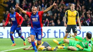 LONDON, ENGLAND - APRIL 10:  Andros Townsend of Crystal Palace (10) celebrates as he scores their first goal during the Premier League match between Crystal Palace and Arsenal at Selhurst Park on April 10, 2017 in London, England.  (Photo by Clive Rose/Getty Images)