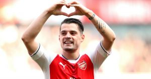 "Arsenal's Granit Xhaka celebrates scoring his side's first goal of the game during the Premier League match at the Emirates Stadium, London. PRESS ASSOCIATION Photo. Picture date: Sunday May 7, 2017. See PA story SOCCER Arsenal. Photo credit should read: Adam Davy/PA Wire. RESTRICTIONS: EDITORIAL USE ONLY No use with unauthorised audio, video, data, fixture lists, club/league logos or ""live"" services. Online in-match use limited to 75 images, no video emulation. No use in betting, games or single club/league/player publications."