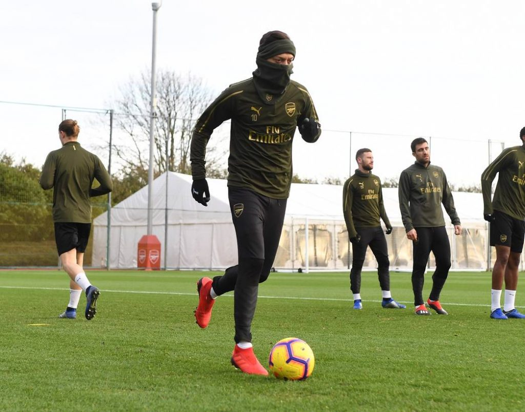 ST ALBANS, ENGLAND - DECEMBER 28: of Arsenal during a training session at London Colney on December 28, 2018 in St Albans, England. (Photo by Stuart MacFarlane/Arsenal FC via Getty Images)