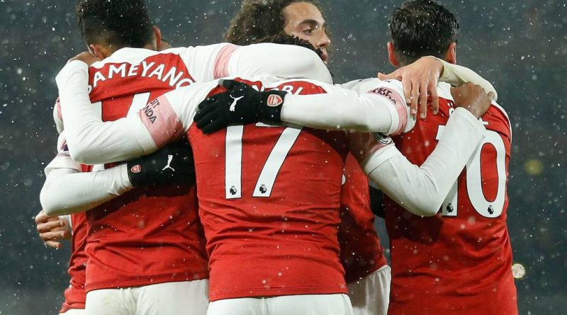 Arsenal's Gabonese striker Pierre-Emerick Aubameyang (L) celebrates after scoring from the penalty spot during the English Premier League football match between Arsenal and Cardiff City at the Emirates Stadium in London on January 29, 2019. (Photo by Ian KINGTON / AFP) / RESTRICTED TO EDITORIAL USE. No use with unauthorized audio, video, data, fixture lists, club/league logos or 'live' services. Online in-match use limited to 120 images. An additional 40 images may be used in extra time. No video emulation. Social media in-match use limited to 120 images. An additional 40 images may be used in extra time. No use in betting publications, games or single club/league/player publications. /         (Photo credit should read IAN KINGTON/AFP/Getty Images)