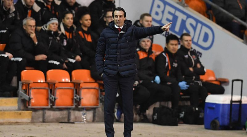 Arsenal's Spanish head coach Unai Emery gestures from the touchline during the English FA Cup third round football match between Blackpool and Arsenal at Bloomfield Road in Blackpool, north west England on January 5, 2019. (Photo by Paul ELLIS / AFP) / RESTRICTED TO EDITORIAL USE. No use with unauthorized audio, video, data, fixture lists, club/league logos or 'live' services. Online in-match use limited to 120 images. An additional 40 images may be used in extra time. No video emulation. Social media in-match use limited to 120 images. An additional 40 images may be used in extra time. No use in betting publications, games or single club/league/player publications. /         (Photo credit should read PAUL ELLIS/AFP/Getty Images)
