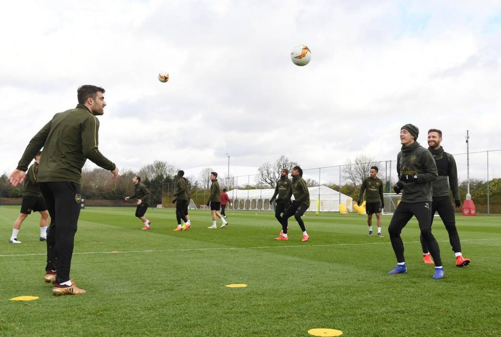 ST ALBANS, ENGLAND - FEBRUARY 20: of Arsenal during a training session at London Colney on February 20, 2019 in St Albans, England. (Photo by Stuart MacFarlane/Arsenal FC via Getty Images)