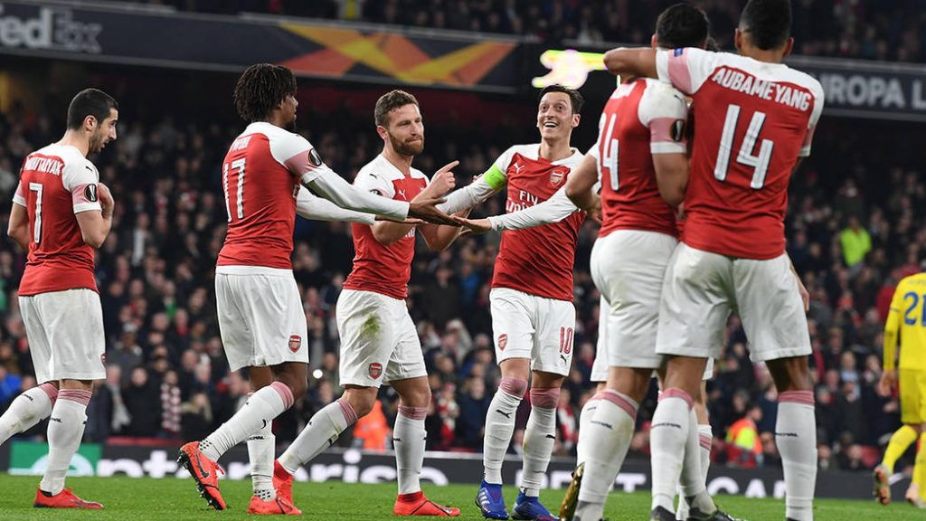 LONDON, ENGLAND - FEBRUARY 21: of Arsenal during the UEFA Europa League Round of 32 Second Leg match between Arsenal and BATE Borisov at England on February 21, 2019 in London, United Kingdom. (Photo by Stuart MacFarlane/Arsenal FC via Getty Images)