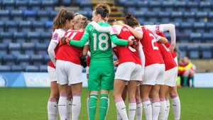 HIGH WYCOMBE, ENGLAND, 27th January 2019: Team huddle of Arsenal during the FA Women's Super league football match between Reading Women and Arsenal Women at Adams Park, Wycombe Wanderers FC, on January 27th in High Wycombe, England.