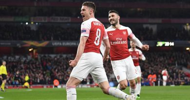 LONDON, ENGLAND - APRIL 11:  Aaron Ramsey celebrates scoring a goal for Arsenal during the UEFA Europa League Quarter Final First Leg match between Arsenal and S.S.C. Napoli at Emirates Stadium on April 11, 2019 in London, England.  (Photo by David Price/Arsenal FC via Getty Images)