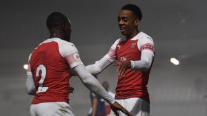 BOREHAMWOOD, ENGLAND - FEBRUARY 04: Joe Willock celebrates scoring Arsenal's 2nd goal with Jordi Osei-Tutu during the match between Arsenal U23 and West Ham United U23 at Meadow Park on February 4, 2019 in Borehamwood, England. (Photo by David Price/Arsenal FC via Getty Images)
